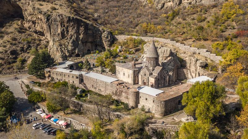 Geghard Monastery in Armenia. Aerial view of Geghard Monastery in Armenia stock photo