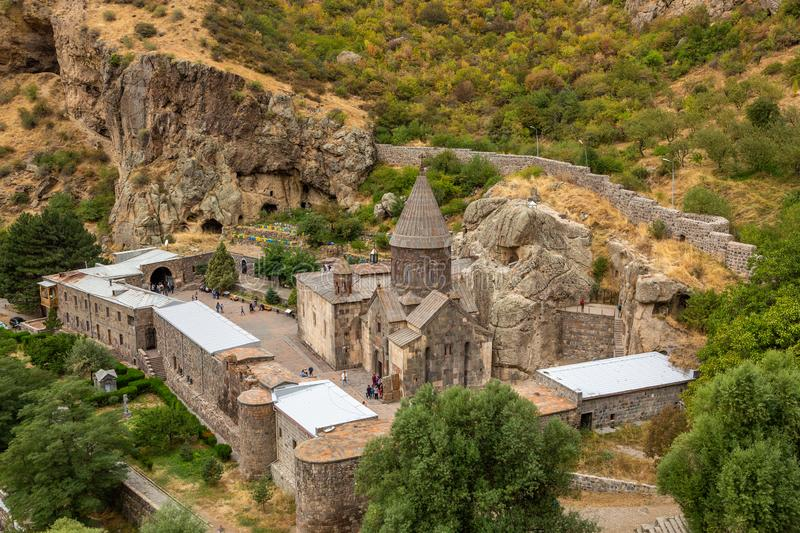 Geghard Monastery in Armenia. Top view royalty free stock photo