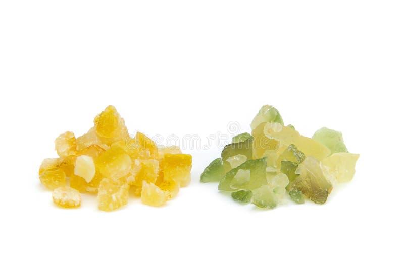 Geglaceerde citroenschil en geglaceerde sinaasappelschil royalty-vrije stock afbeelding