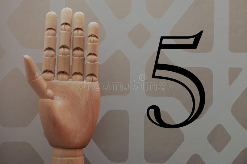 Gegliederte hölzerne Hand mit fünf Fingern hob in Anspielung auf Nr. fünf an stockbild