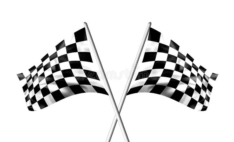 Gegolfte zwart-witte gekruiste geruite vlaggen vector illustratie