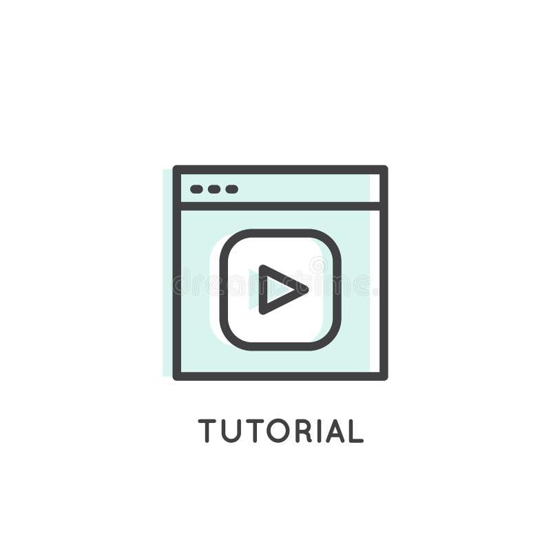 Gegoten leerprogramma, Webinar, Video, het Stromen, Online Presentatie, Videoapp of Vlog royalty-vrije illustratie