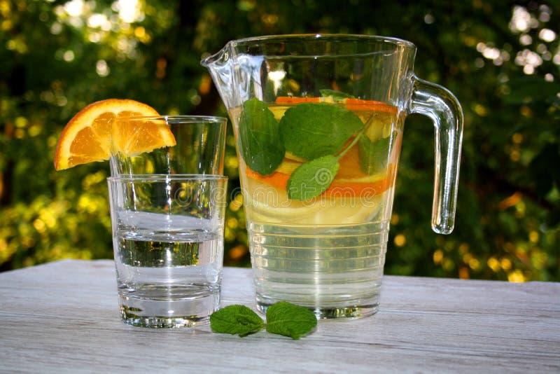 Gegoten water met citrusvruchten en munt stock afbeelding