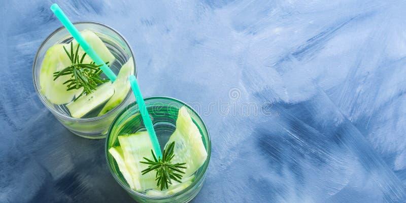 Gegoten water met komkommer en rozemarijn stock illustratie