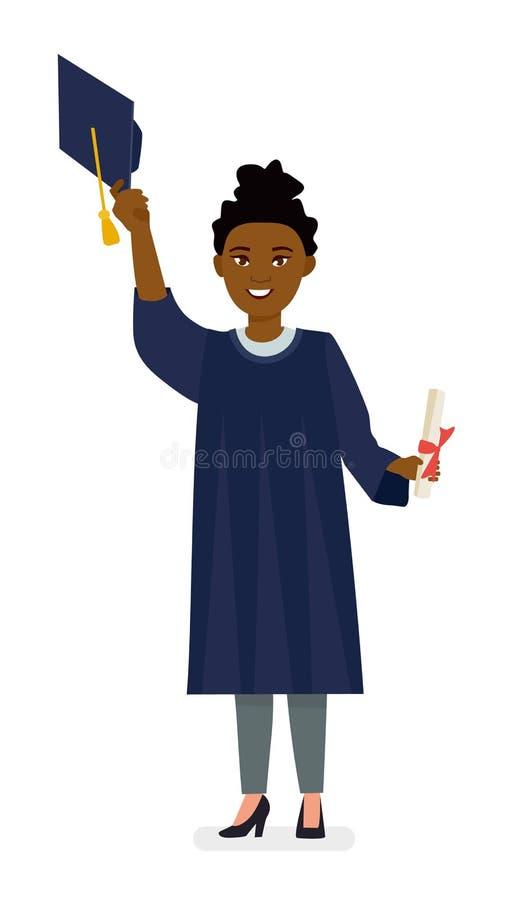 Gegradueerde van de Afro het Amerikaanse jonge vrouw in GLB en toga met diploma Illustratie van het beeldverhaal de vectorkarakte royalty-vrije illustratie