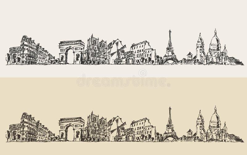 Gegraveerde de Illustratieschets van Parijs Frankrijk Wijnoogst royalty-vrije illustratie