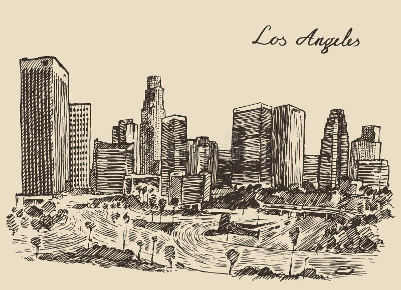 Gegraveerde de wijnoogst van de horizoncalifornië van Los Angeles vector illustratie