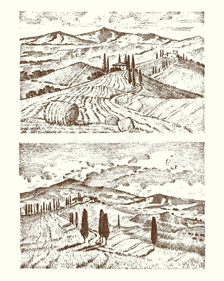 Gegraveerde die hand in oude schets en uitstekende stijl voor etiket wordt getrokken Italiaanse van de de gebieden van Toscanië b royalty-vrije illustratie
