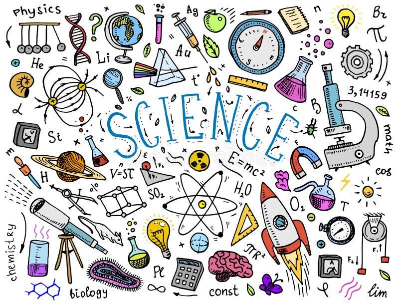 gegraveerde die hand in oude schets en uitstekende stijl wordt getrokken wetenschappelijke formules en berekeningen in fysica en  stock illustratie