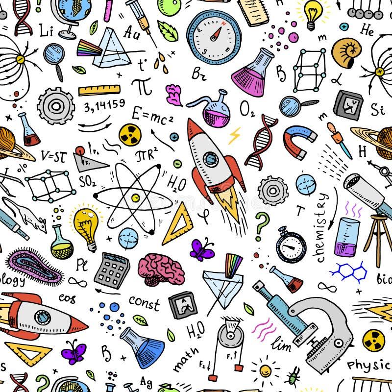gegraveerde die hand in oude schets en uitstekende stijl wordt getrokken wetenschappelijke formules en berekeningen in fysica en  royalty-vrije illustratie