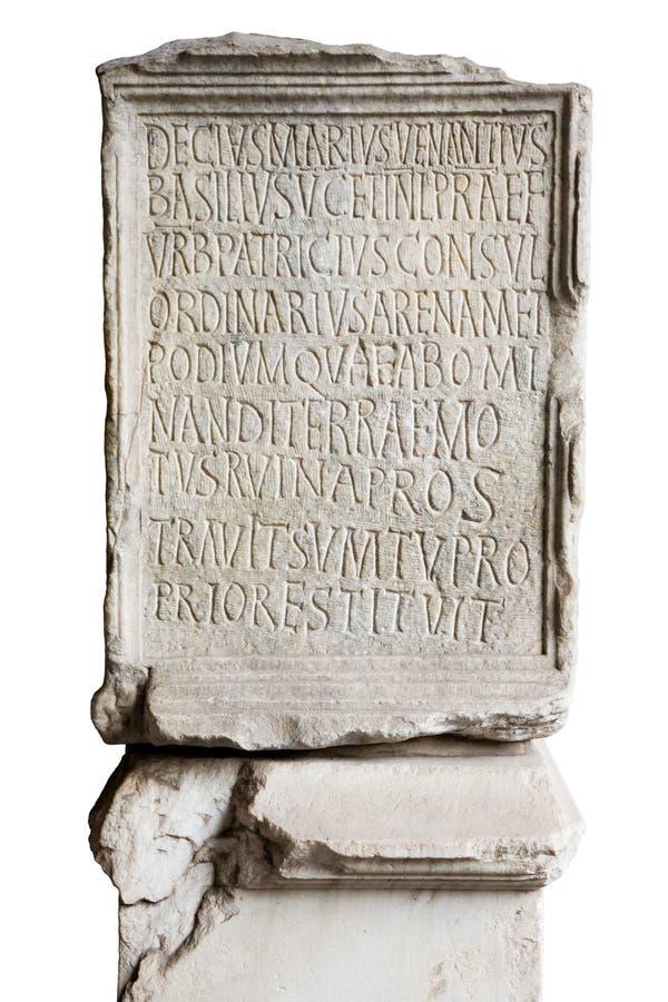 Gegraveerde steen in Coliseum royalty-vrije stock afbeeldingen