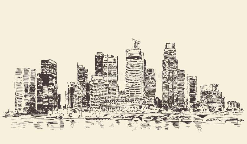 Gegraveerde Wijnoogst van de de Stadsarchitectuur van Singapore de Grote vector illustratie