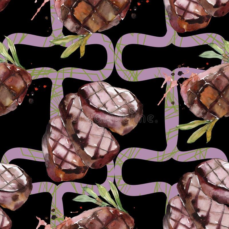 Gegrilde biefstuk smakelijk eten Achtergrondillustratieset voor waterkleur Naadloos achtergrondpatroon stock afbeeldingen
