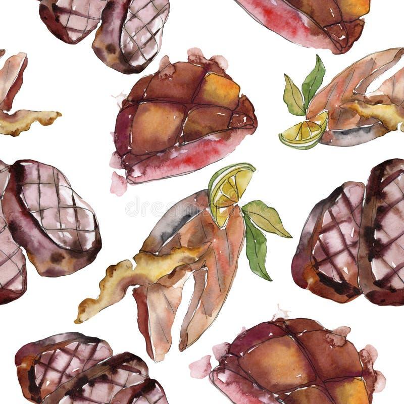 Gegrilde biefstuk smakelijk eten Achtergrondillustratieset voor waterkleur Naadloos achtergrondpatroon royalty-vrije stock afbeelding