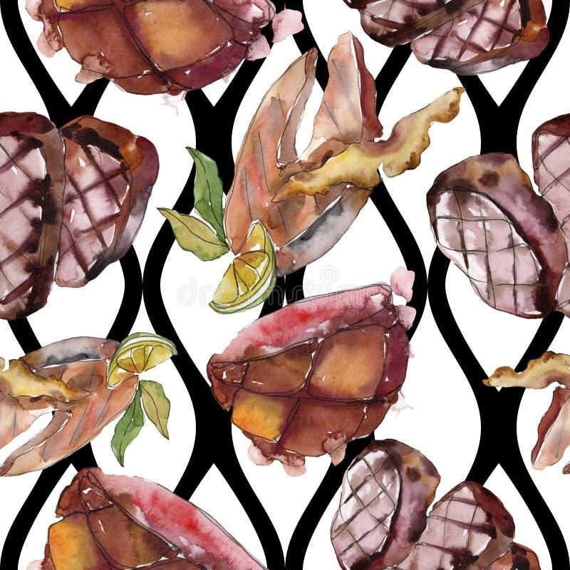 Gegrilde biefstuk smakelijk eten Achtergrondillustratieset voor waterkleur Naadloos achtergrondpatroon royalty-vrije stock afbeeldingen