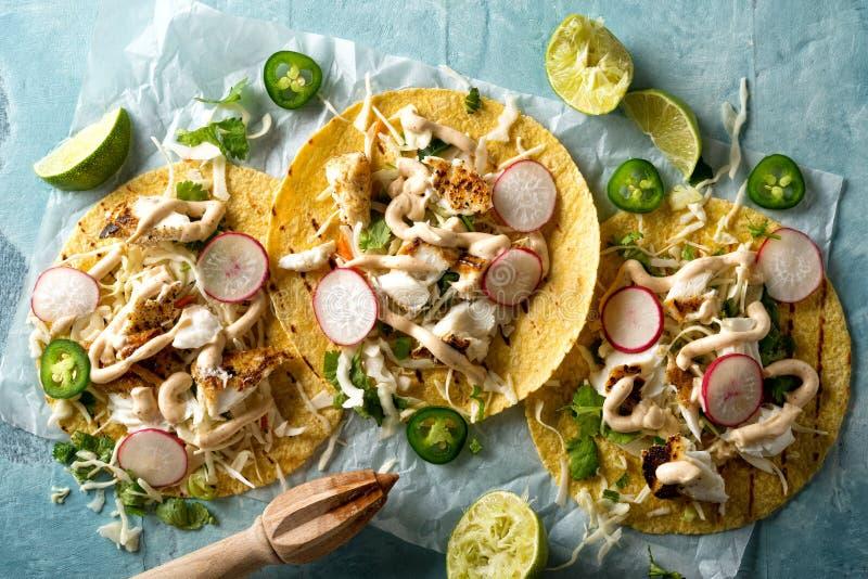 Gegrillte Fisch-Tacos lizenzfreie stockfotos
