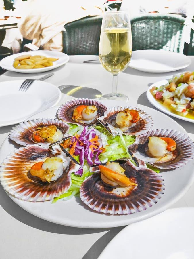 Gegrillte galizische Kammmuscheln, Meeresfrüchtesalat und Weißwein auf weißem backgound Iberische veränderte Kammmuscheln Zamburi stockbild