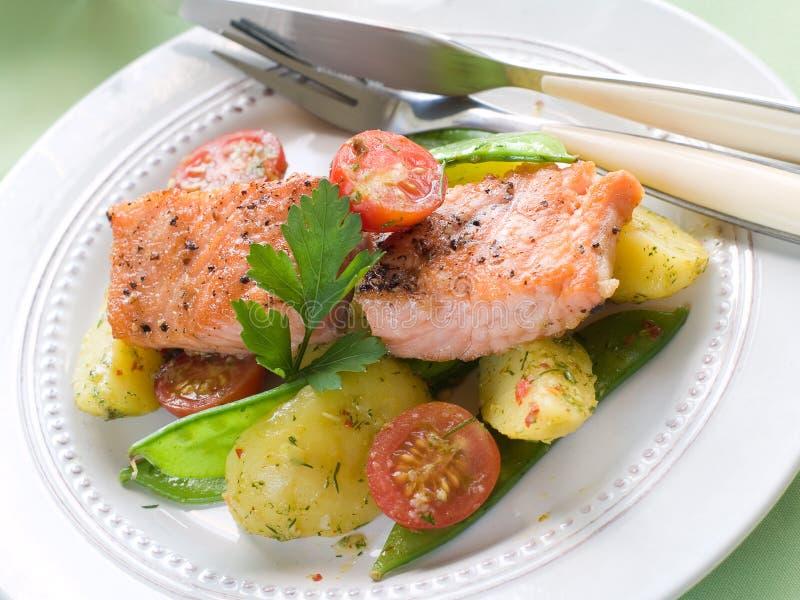 Gegrillte Lachse mit Gemüse lizenzfreie stockfotos