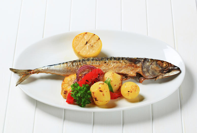 Gegrillte Makrele und Kartoffeln stockbild
