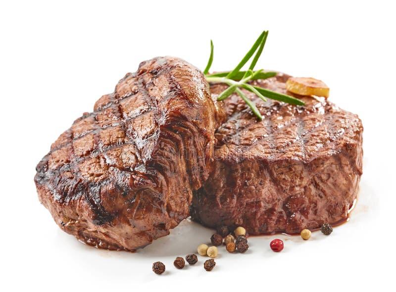 Gegrillte Rindfleisch-Steaks stockbilder
