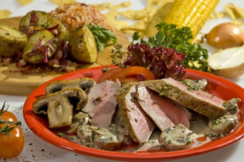 Gegrillte Schweinefleischlendenstück-Mexikanerart stockbild