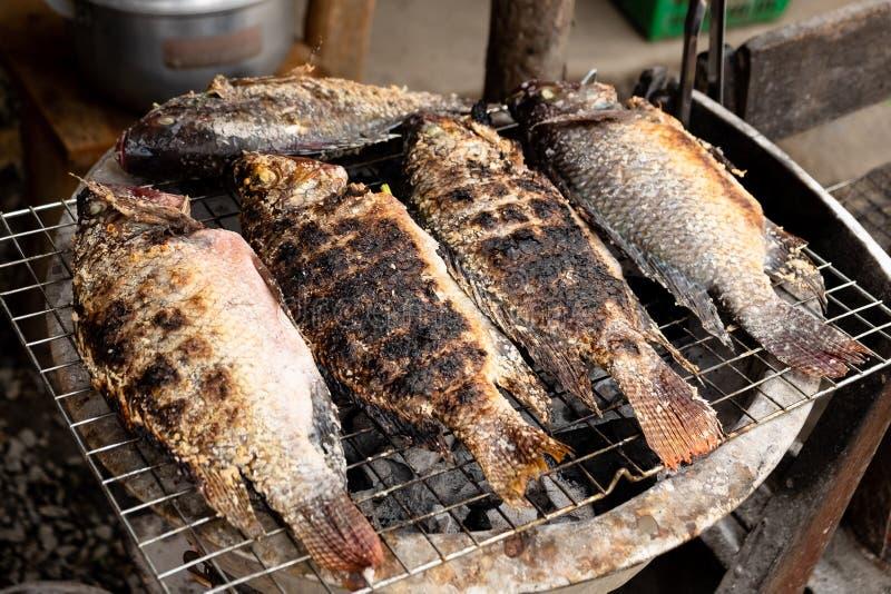 Gegrillte Tilapia-Fische mit Kräutern, gesunde asiatische lokale Nahrung mit gutem Geschmack lizenzfreie stockfotografie