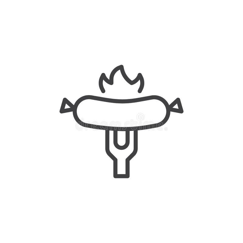Gegrillte Wurst auf Gabellinie Ikone vektor abbildung