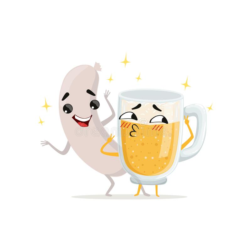 Gegrillte Wurst und Becher Bier mit glücklichen Gesichtern Lustige Charaktere der Karikatur Lebensmittel und Getränk in der flach lizenzfreie abbildung