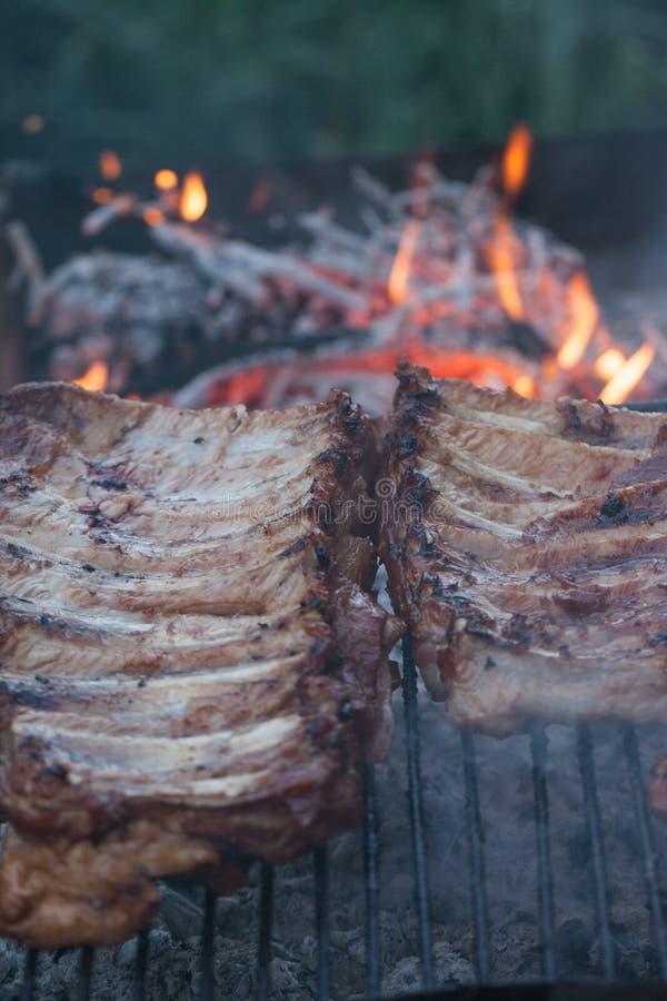 Gegrillter Grillhafen Kochen im Freien Marinated grillte Rippen Nettes neues Lebensmittel und Korb auf dem Gras Kochen des Abende lizenzfreies stockbild