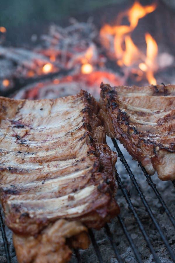 Gegrillter Grillhafen Kochen im Freien Marinated grillte Rippen Nettes neues Lebensmittel und Korb auf dem Gras Kochen des Abende stockfotos