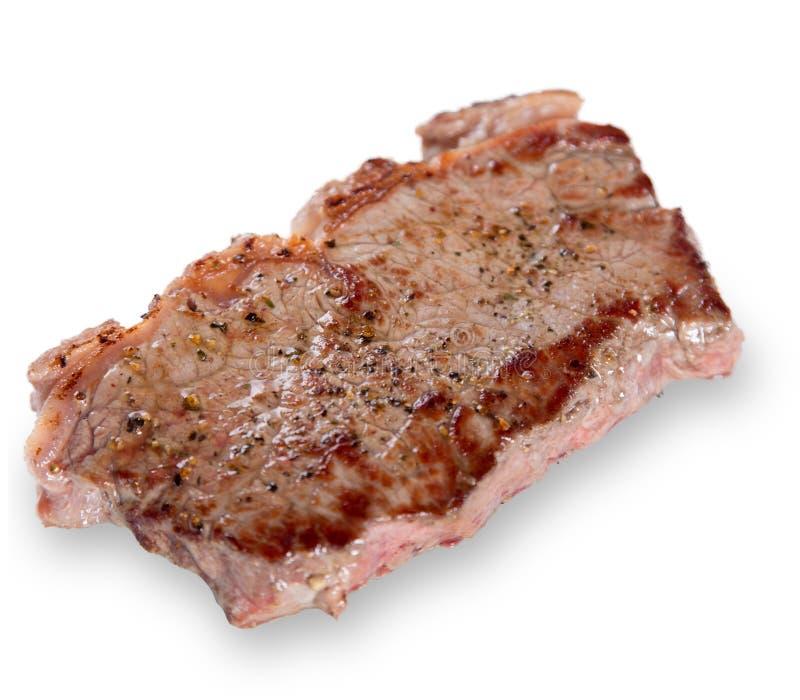 Gegrilltes bbq-Steak über Weiß lizenzfreie stockfotos