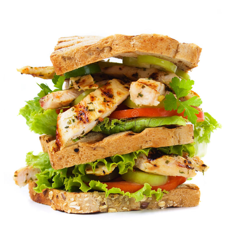 Gegrilltes belegtes Brot mit Hühnerfleisch lizenzfreies stockfoto