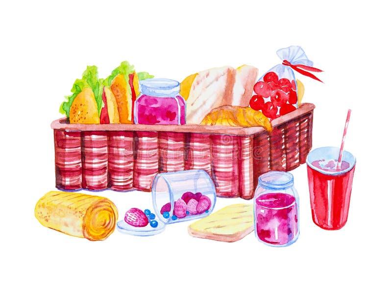Gegrilltes Brot, Erdbeeren, Stau, Hörnchen, Rollen, Hamburger, Tomaten in einer Tasche, Erdbeeren und Blaubeeren in einem Glas, F stock abbildung