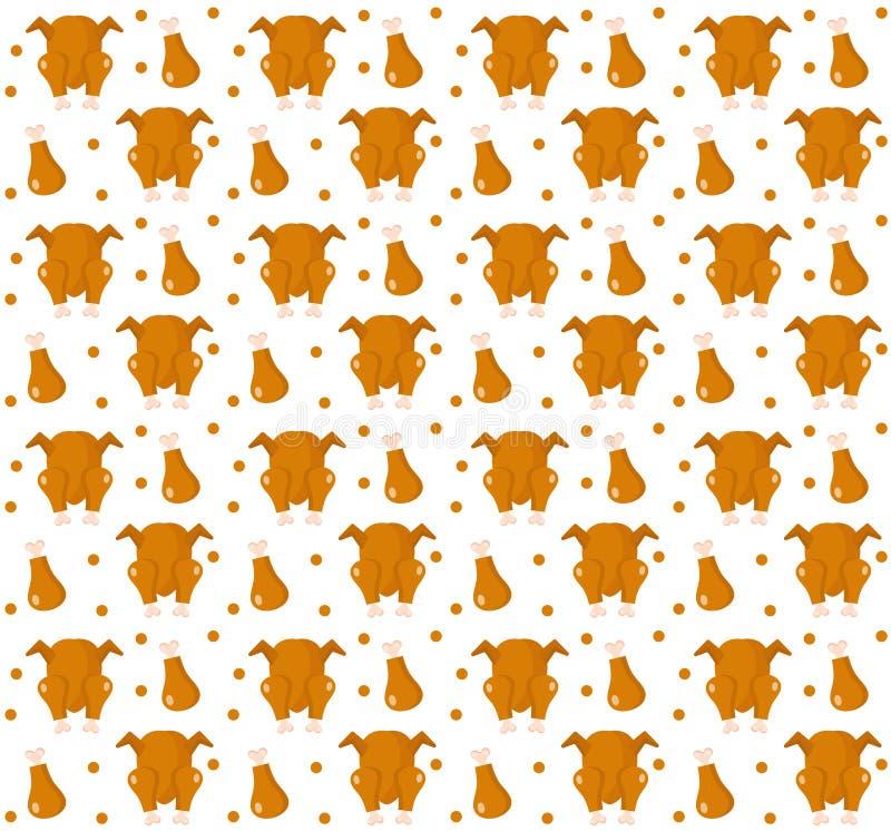 Gegrilltes Hühnernahtloses Muster, flache Art endloser Hintergrund, Beschaffenheit Auch im corel abgehobenen Betrag stock abbildung