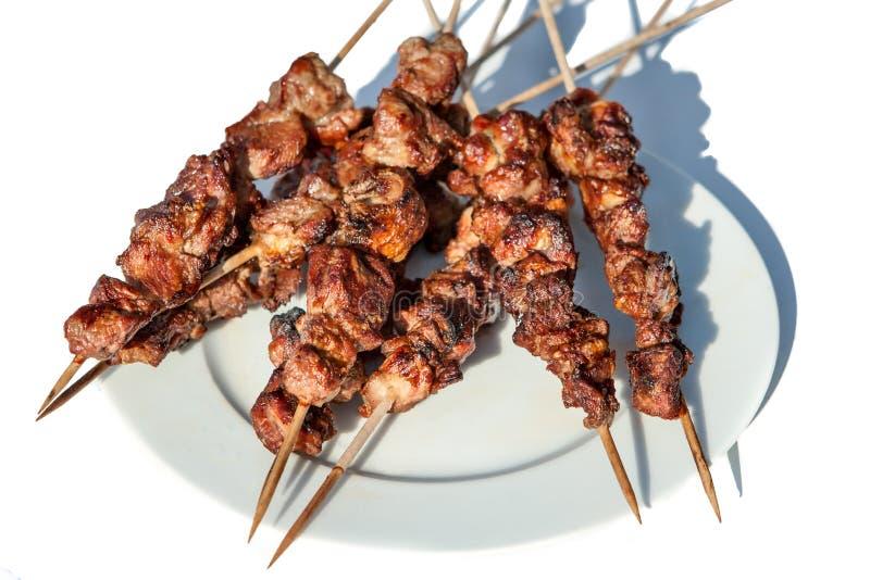 Gegrilltes Kebab shashlik auf Spucken stockfoto