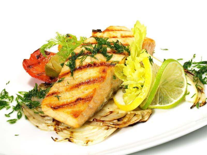 Gegrilltes Lachs - Fischfilet lizenzfreie stockfotografie