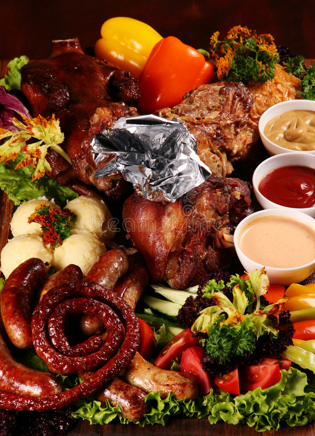 Gegrilltes Mischungsfleisch stockfotos
