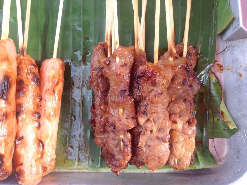 Gegrilltes Schweinefleisch der Draufsicht traditionelle thailändische Art lizenzfreie stockfotos