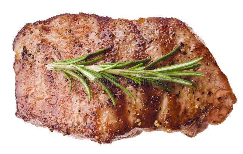 Gegrilltes Steak auf weißem Hintergrund lizenzfreies stockbild