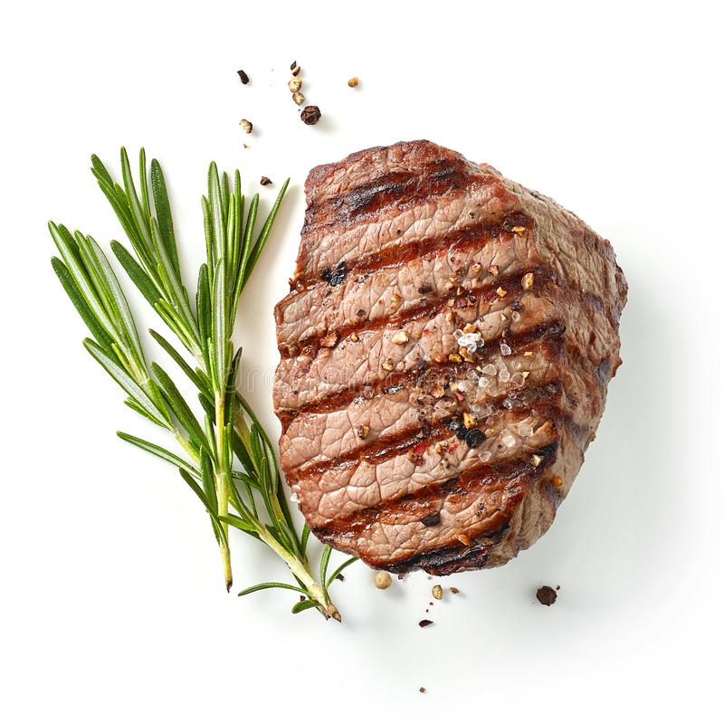 Gegrilltes Steak und Rosmarin lizenzfreies stockfoto