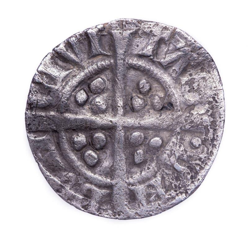 Gehämmerter silberner Penny von Rückseite Edward I stockbild