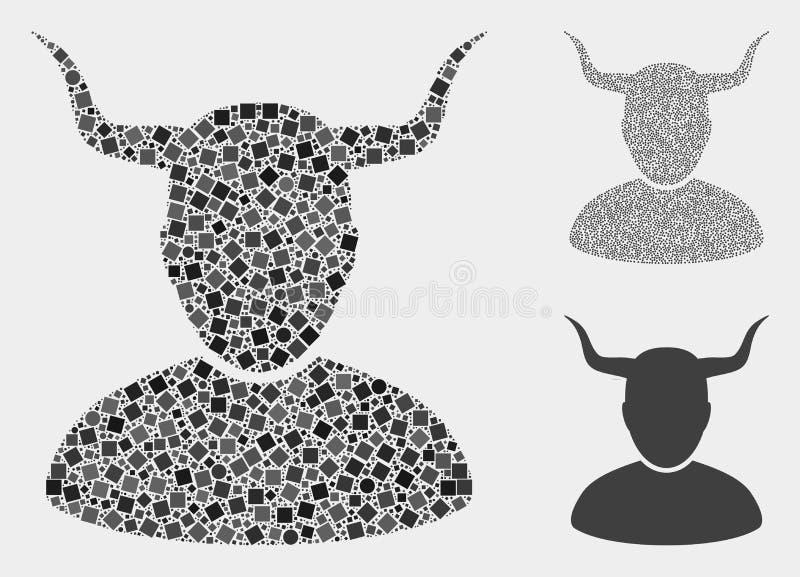 Gehörnte Benutzer-Ikonen-Collagen von Quadraten und von Kreisen stock abbildung