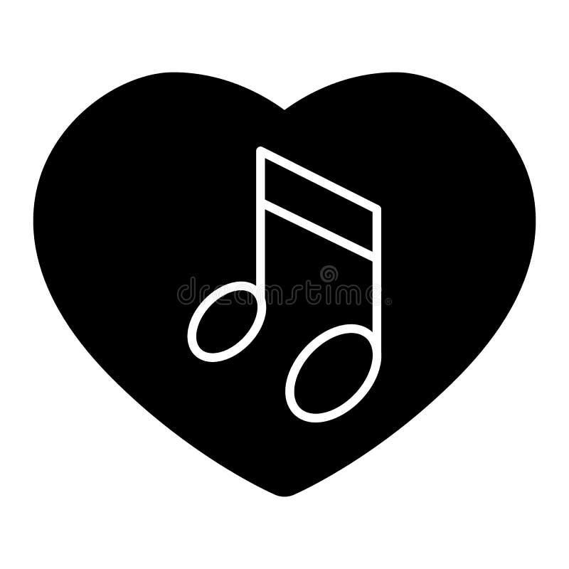 Gehörte und Anmerkungskörperikone Liebesliedvektorillustration lokalisiert auf Weiß Musikalische Anmerkung Glyphartdesign, entwor stock abbildung