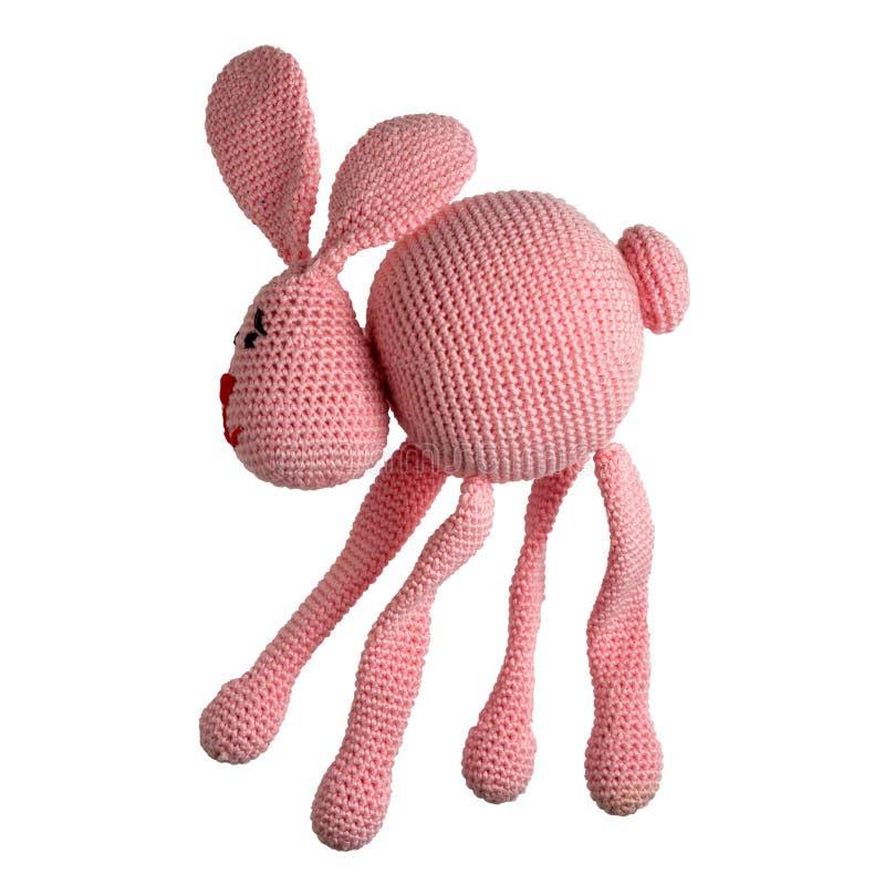 Gehaakt roze konijnstuk speelgoed stock foto