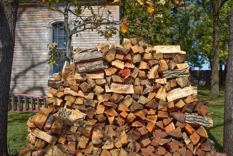 Gehacktes Brennholz gestapelt zwischen zwei Bäumen stockbild
