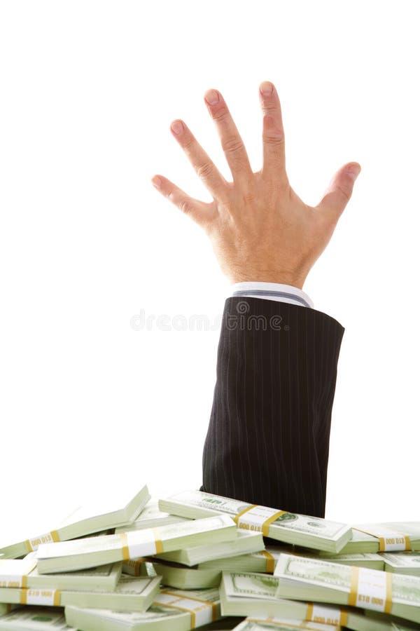 Gehaftet im Geld stockbild