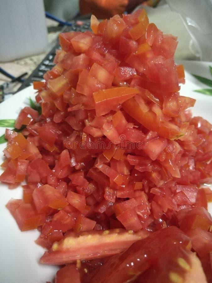 Gehakte tomaten stock fotografie