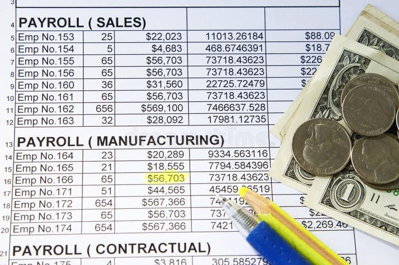 Gehaltsabrechnungsverteilungsbogen lizenzfreies stockbild
