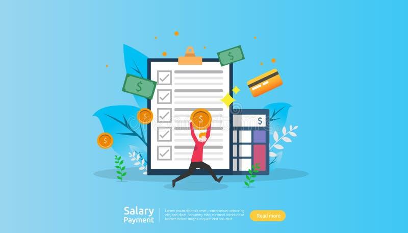 Gehaltszahlungskonzept Gehaltsliste, jährliche Prämie, Einkommen, Auszahlung mit Papiertaschenrechner und Leutecharakter Landungs stock abbildung