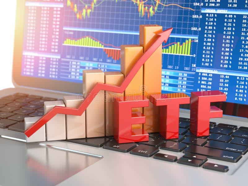 Gehandelter ETF-Austausch finanziert Konzept Diagramm mit ETF auf dem Laptop stock abbildung